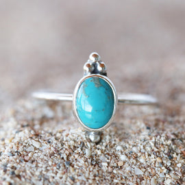 Turquoise Oval Point ring