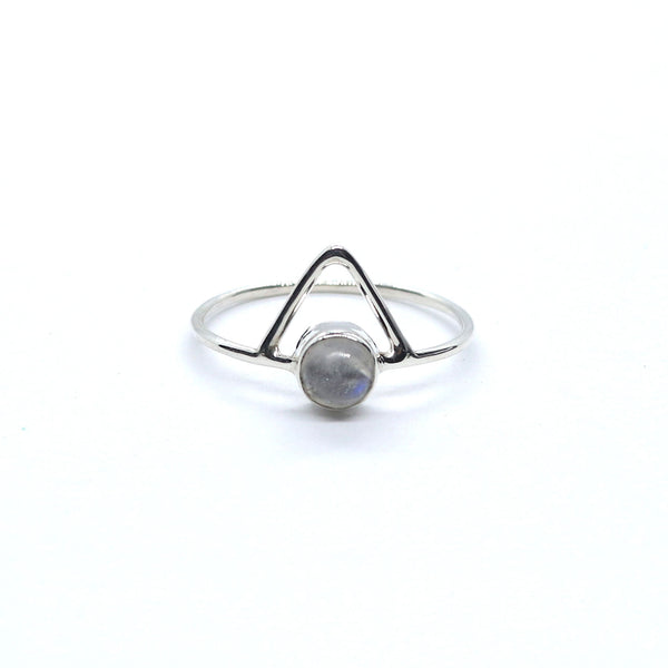 Triangle Moonstone Ring