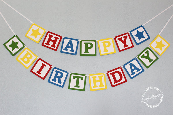 Blocks Birthday Banner