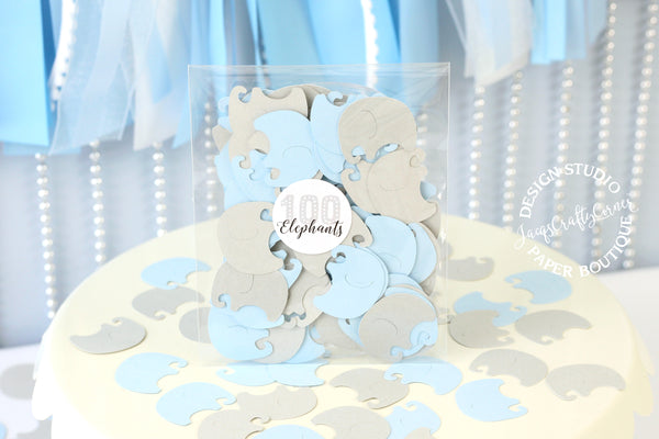 Light Blue Elephants Baby Shower Embellishment