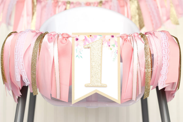 Floral High Chair Banner in Pink and Gold
