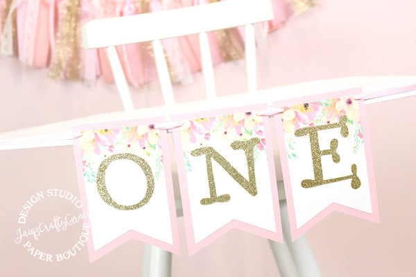 Floral First Birthday Highchair Banner