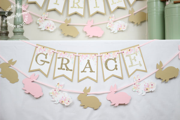 Personalized Floral Birthday Banner and Bunny Garlands
