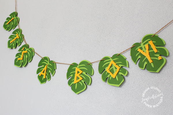 Jungle Safari Baby Shower Banner | It's A Boy! Tropical Decoration