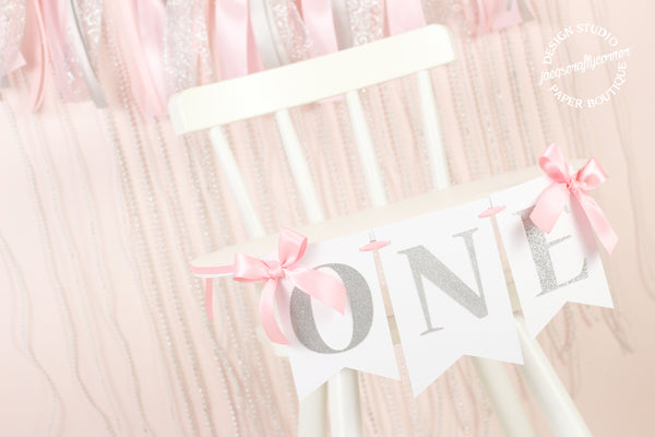 Pink and Silver First Birthday Banner with Bows
