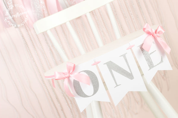 Pink and Silver First Birthday Highchair Banner with Bows