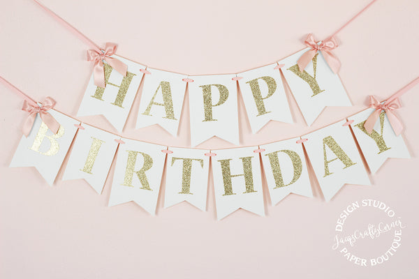 Blush Pink and Gold First Birthday Banner with Bows