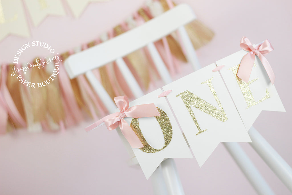 Blush Pink and Gold First Birthday Highchair Banner with Bows