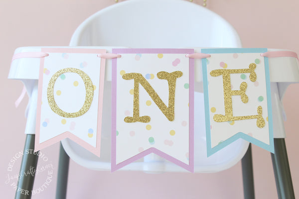 Pastel Rainbow ONE Birthday Highchair Banner