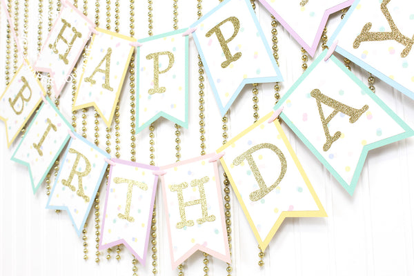 Pastel Rainbow and Gold Birthday Banner