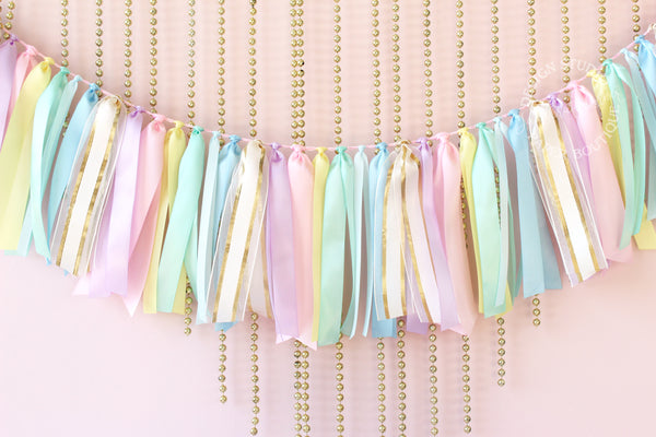 Pastel Rainbow Ribbon Garland