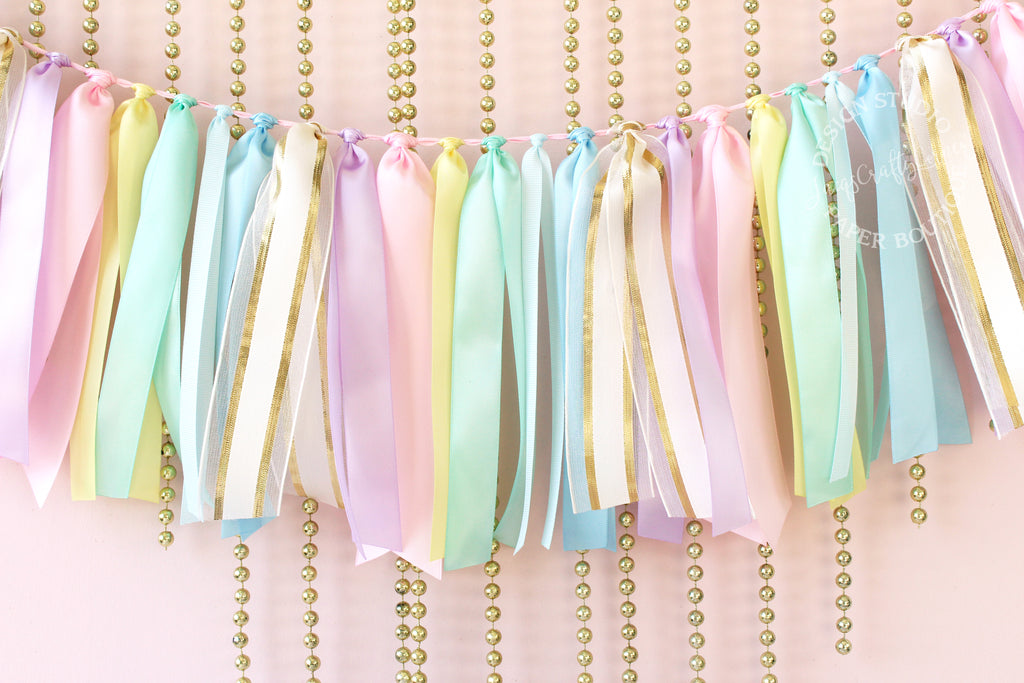Pastel Rainbow and Gold Ribbon Garland