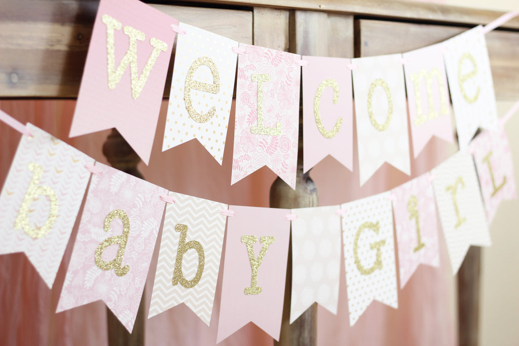 Pink And Gold Baby Shower Banner Welcome Baby Girl 1 0 Jacqscraftycorner