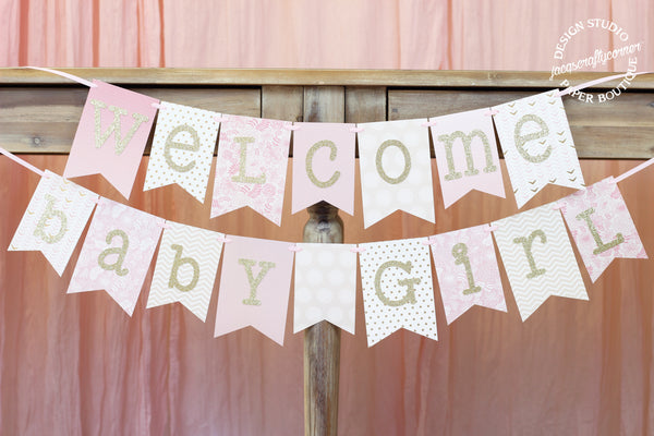 Pink and Gold Baby Shower Banner | Welcome Baby Girl 1.0
