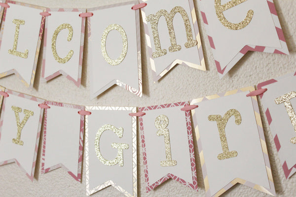Pink and Gold Baby Shower Banner | Welcome Baby Girl 2.0