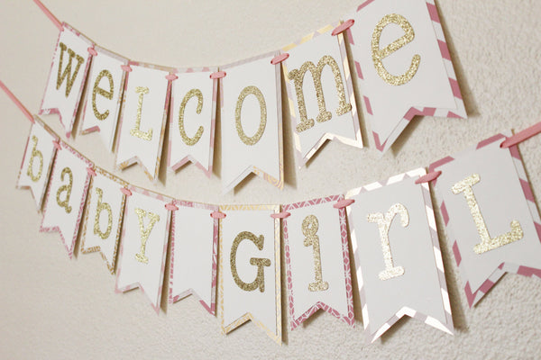 Pink and Gold Baby Shower Banner 2.0
