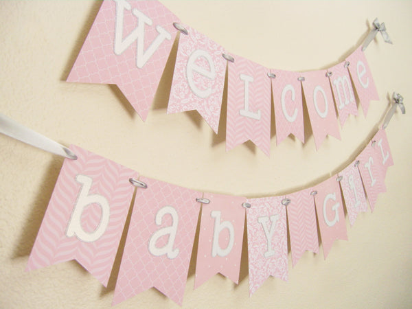 Light Pink and Silver Baby Shower Banner | Welcome Baby Girl
