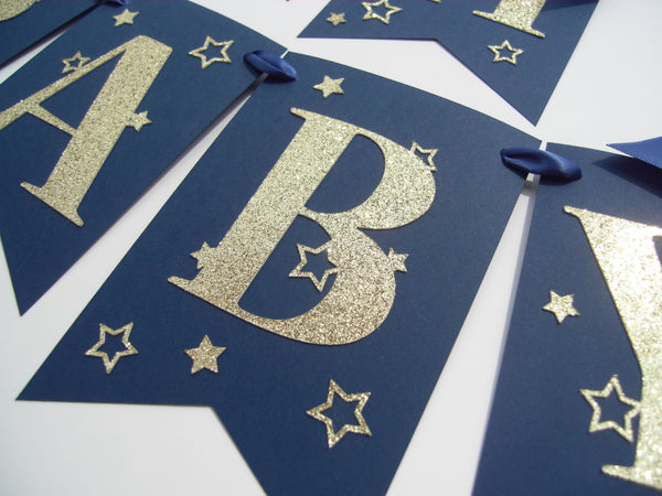 Navy Twinkle Baby Shower Banner
