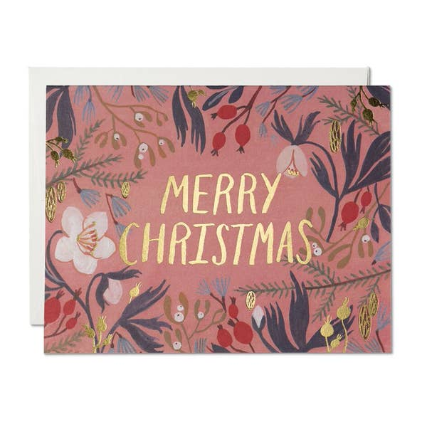 Christmas Flowers Holiday Card