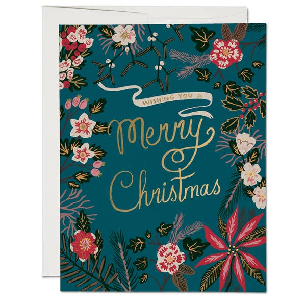 Blue Poinsettia Holiday Christmas Card