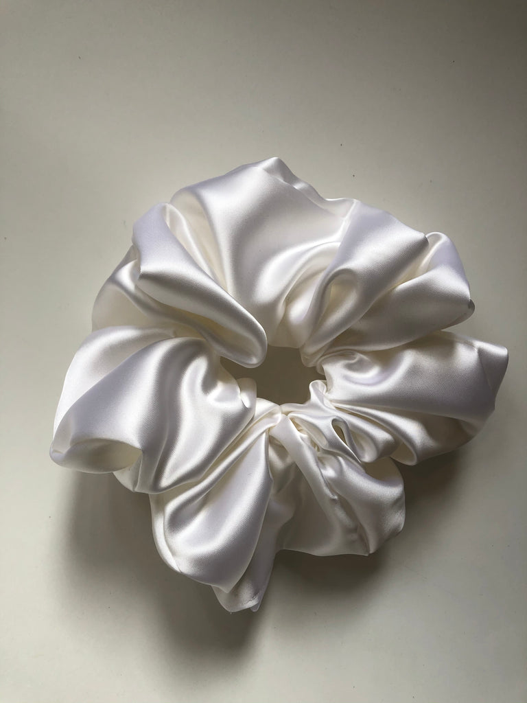 XL Satin Scrunchie in Opalescent White