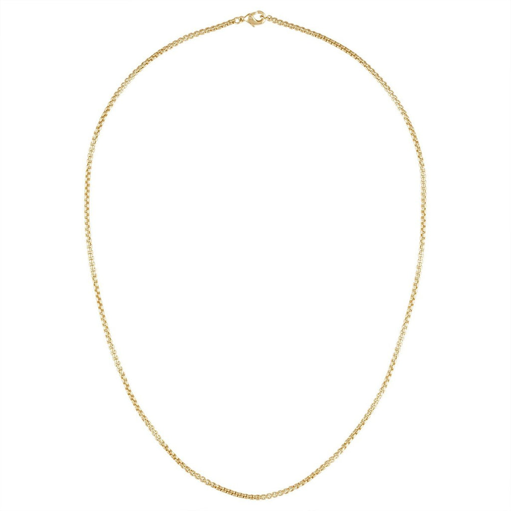 ROUND BOX CHAIN NECKLACE IN 14K GOLD 18""