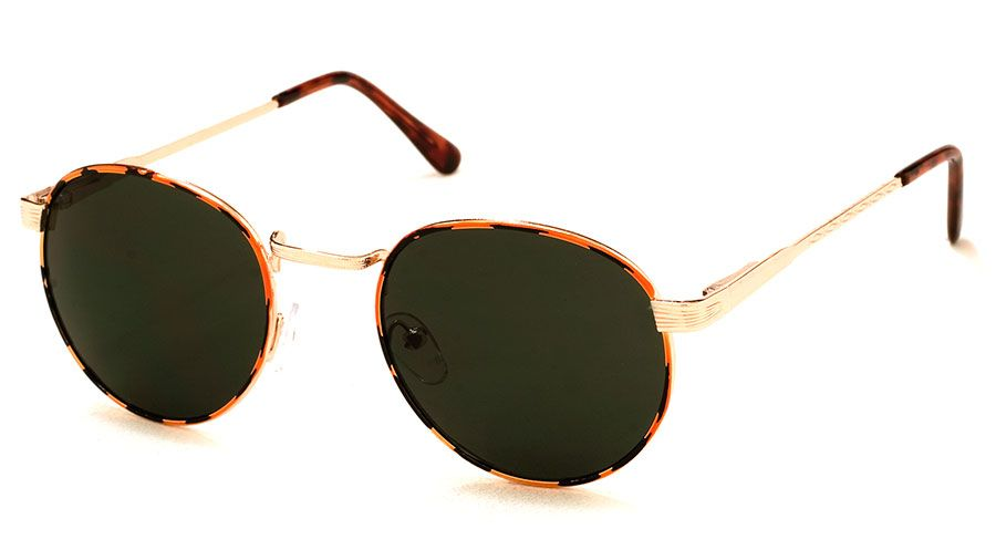 Tiger Wire Rim Sunglasses with Black Green Tinted Lens