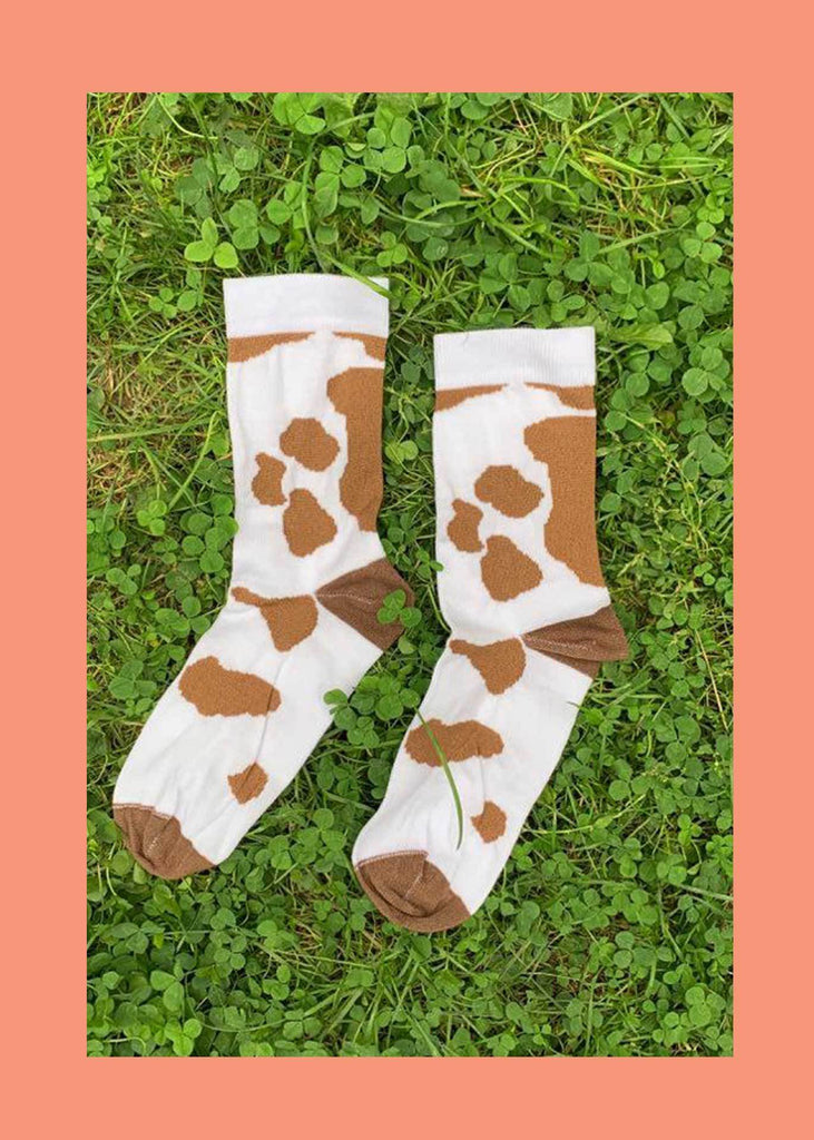 Brown Cow Ankle Socks