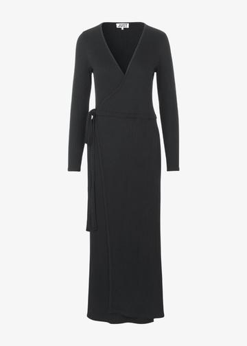 Edda Wrap Dress in Black