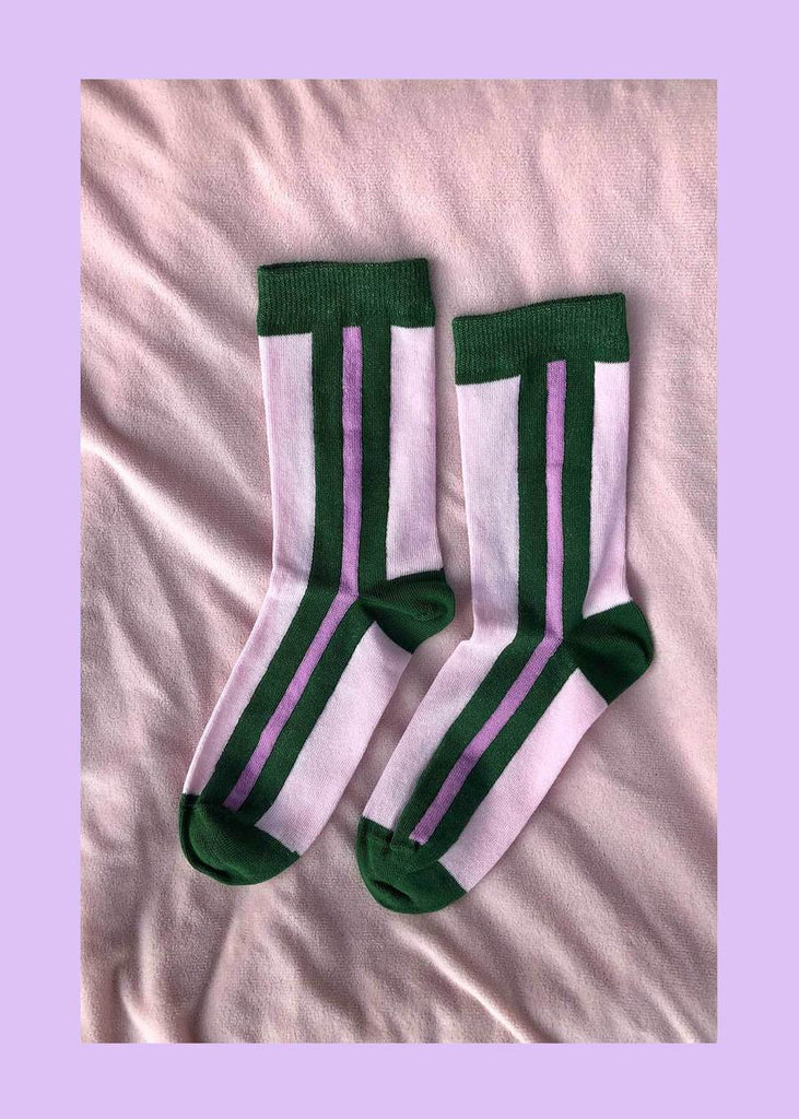 Pink Matcha Striped Socks