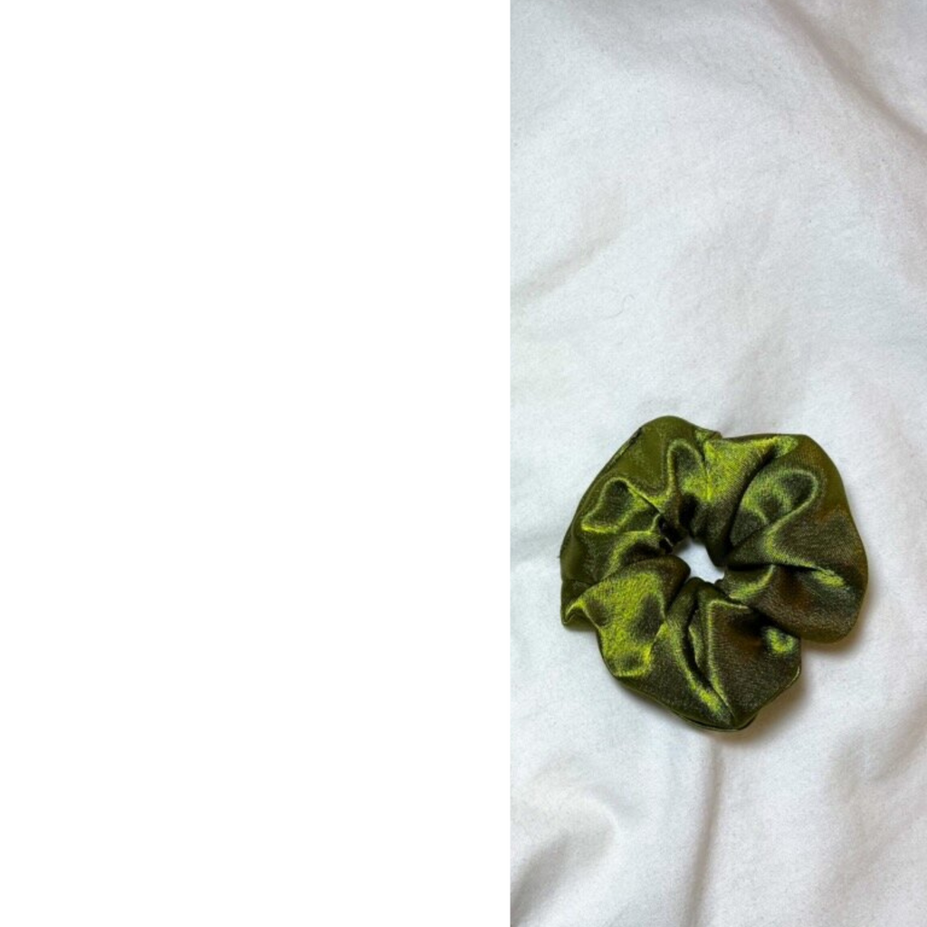 Small Satin Scrunchie in Olive