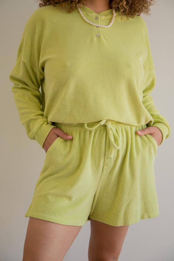 Terry Henley Sweat Shorts in Lime