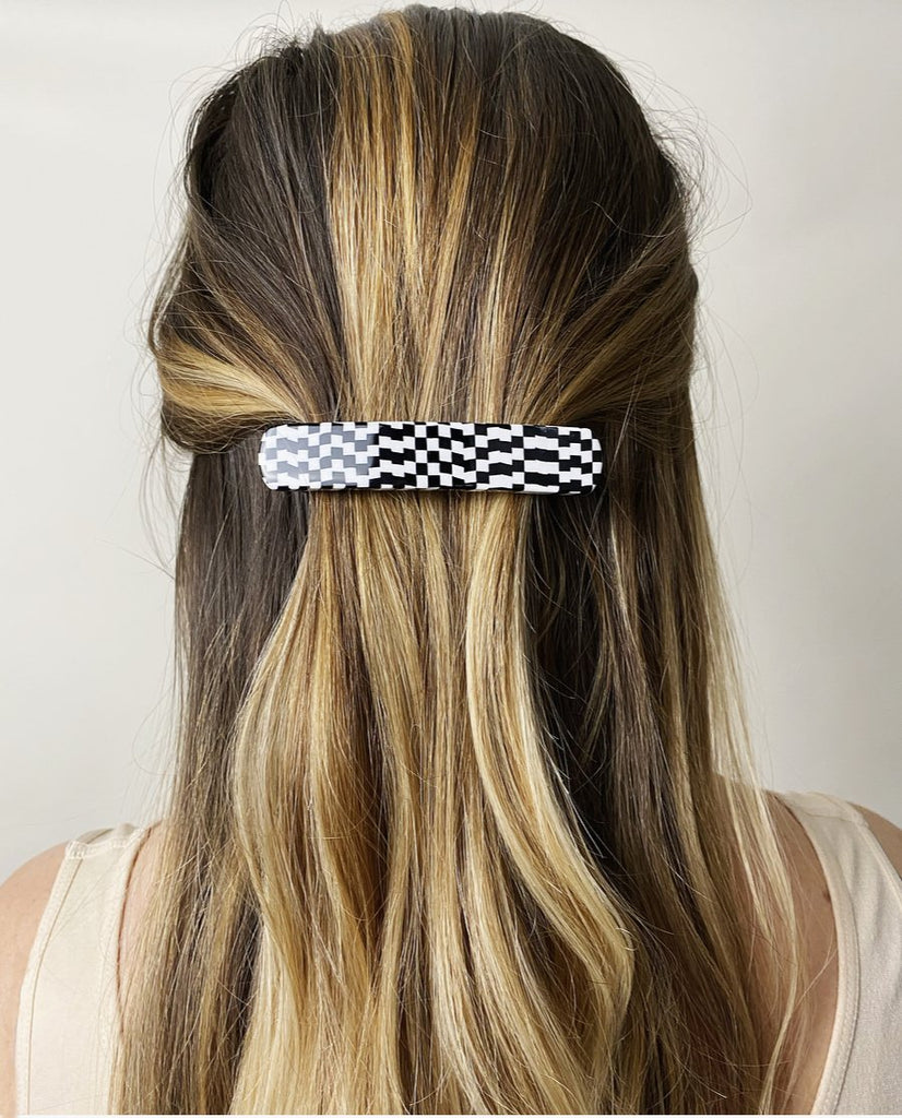 No. 3 Heirloom  Hair Clip in Bizarre Checker