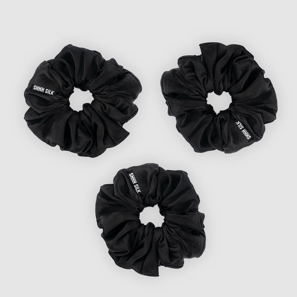 3 Pack Large Black Silk Scrunchies