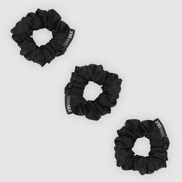 3 Pack Medium Black Silk Scrunchies