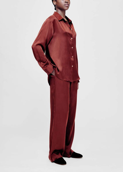 London Silk Pyjama Bottom Burgundy