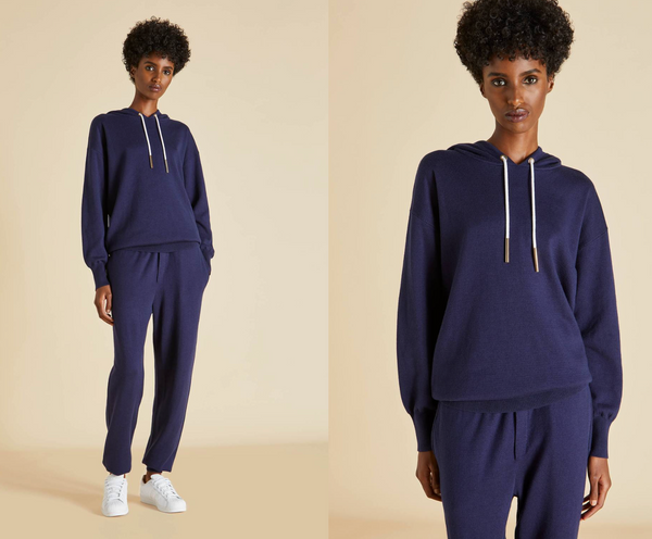 Silk Cashmere Tracksuit - Grey Marle and Navy Blue