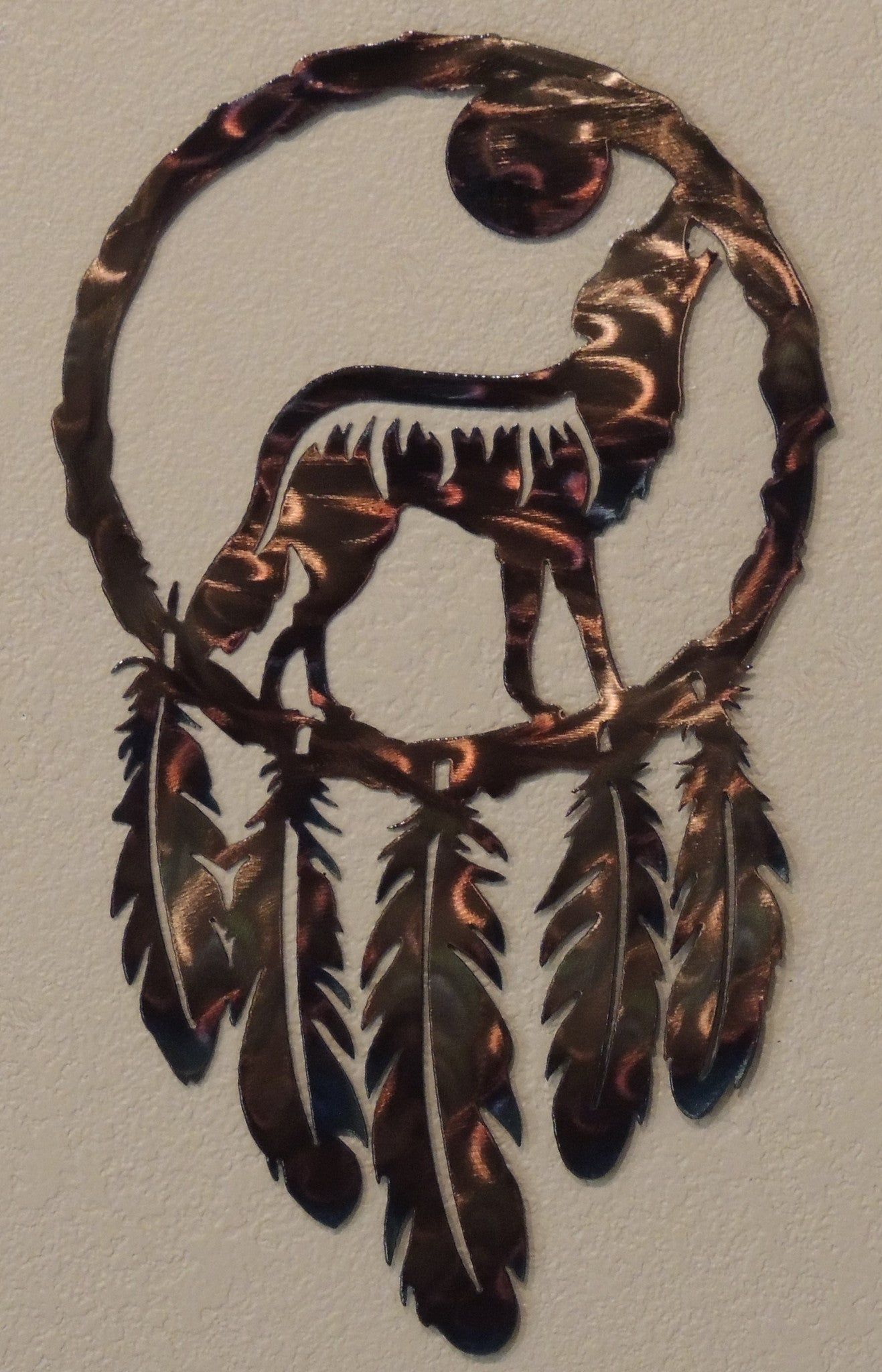 Call Of The Wild Wolf Dream Catcher Reflections In Metal