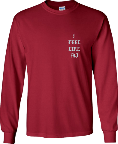 """I Feel Like MJ"" Pablo - Long Sleeve Shirt (Red/Metallic Grey)"