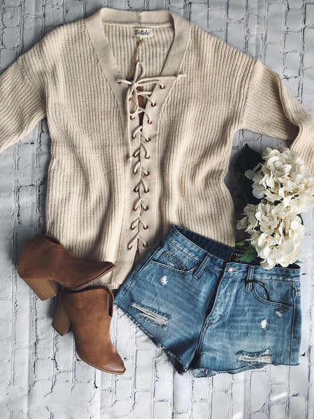 Corrine Lace Up Sweater