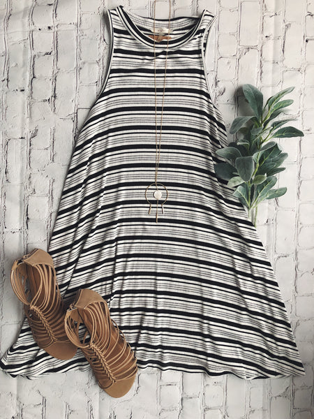 Ribbed Stripe Swing Dress