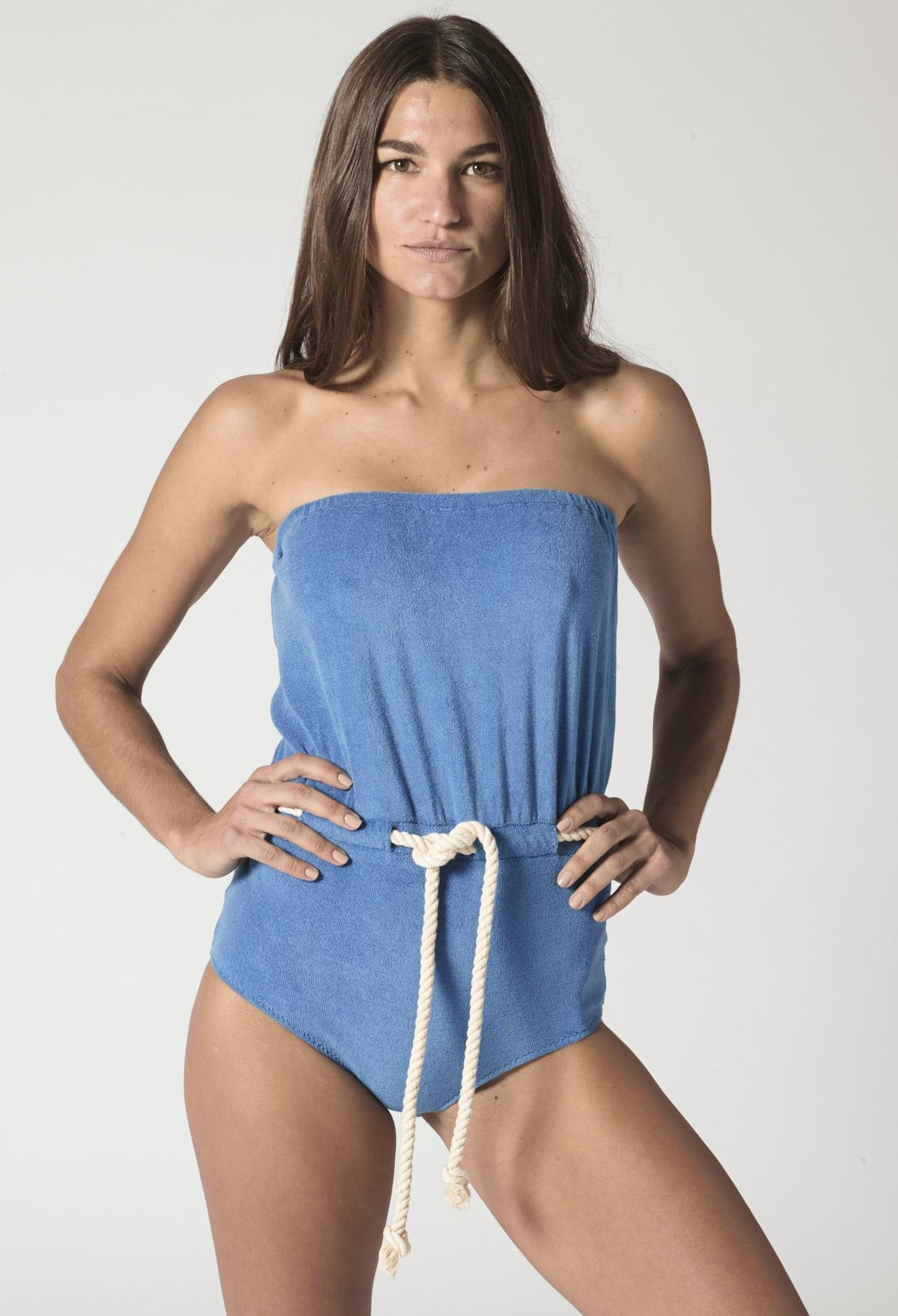 VICTOR MOROCCAN BLUE TERRY DRAWSTRING MAILLOT