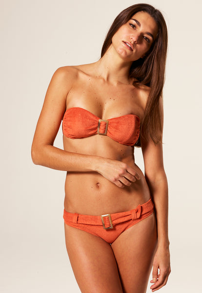 BUCKLE BANDEAU TERRACOTTA TERRY CLOTH BIKINI