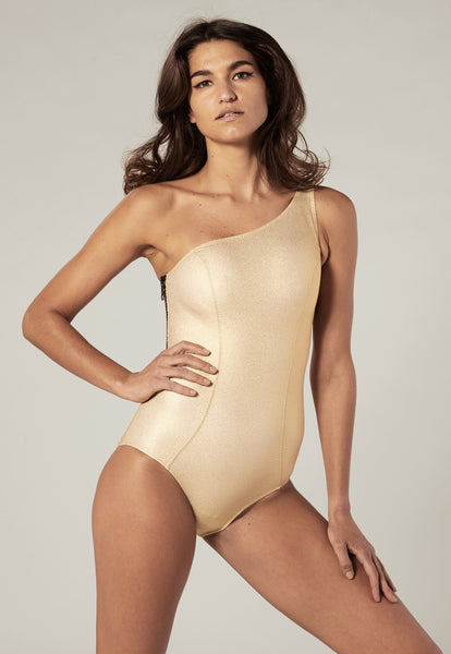 ARDEN GOLD METALLIC CREPE MAILLOT