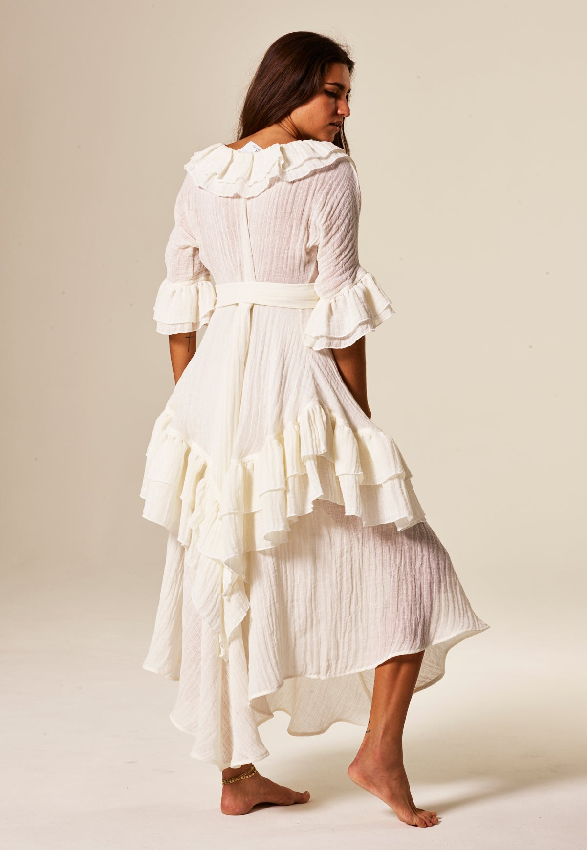 LAURA WHITE GAUZE RUFFLE DRESS