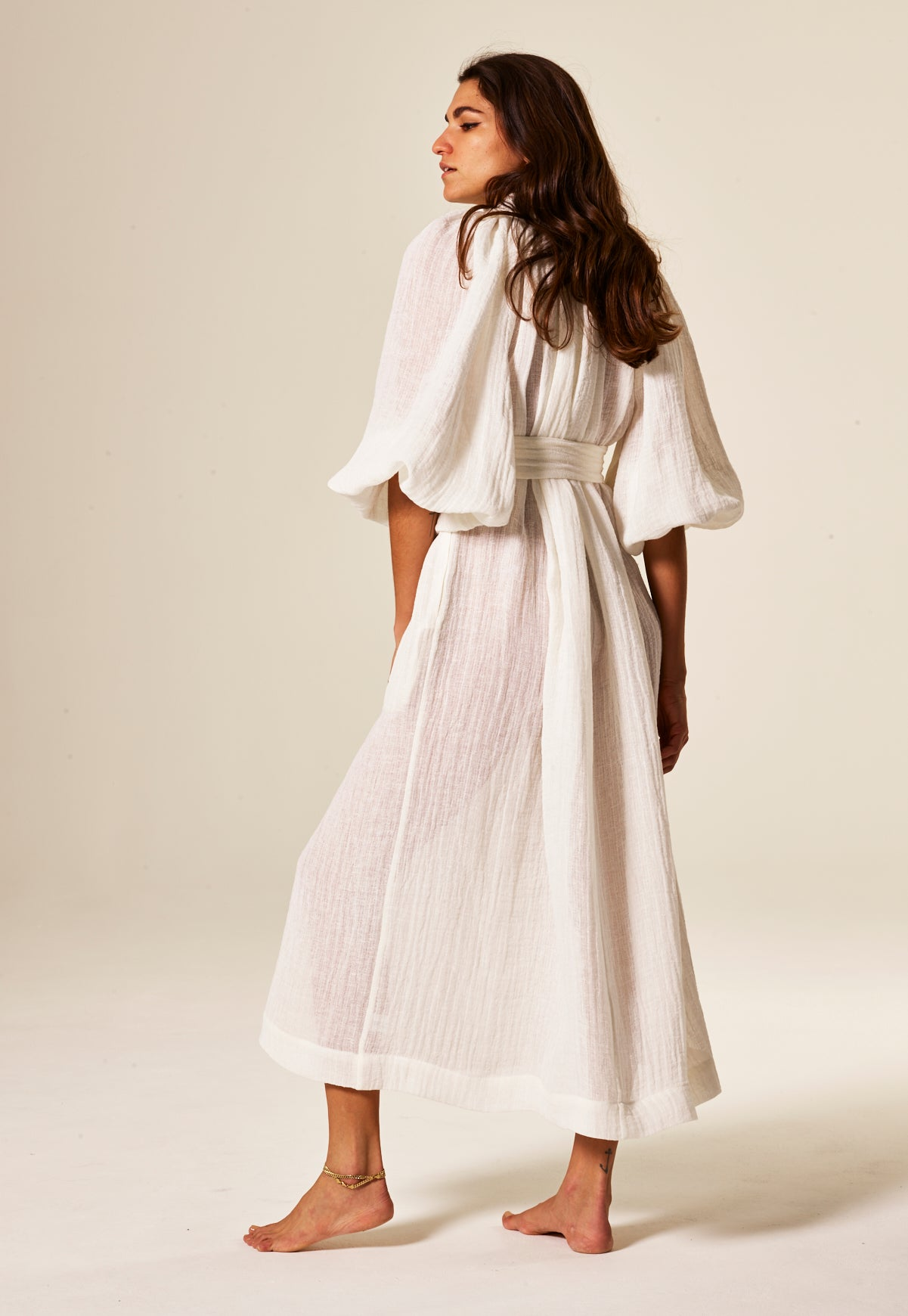 POET WHITE GAUZE DRESS