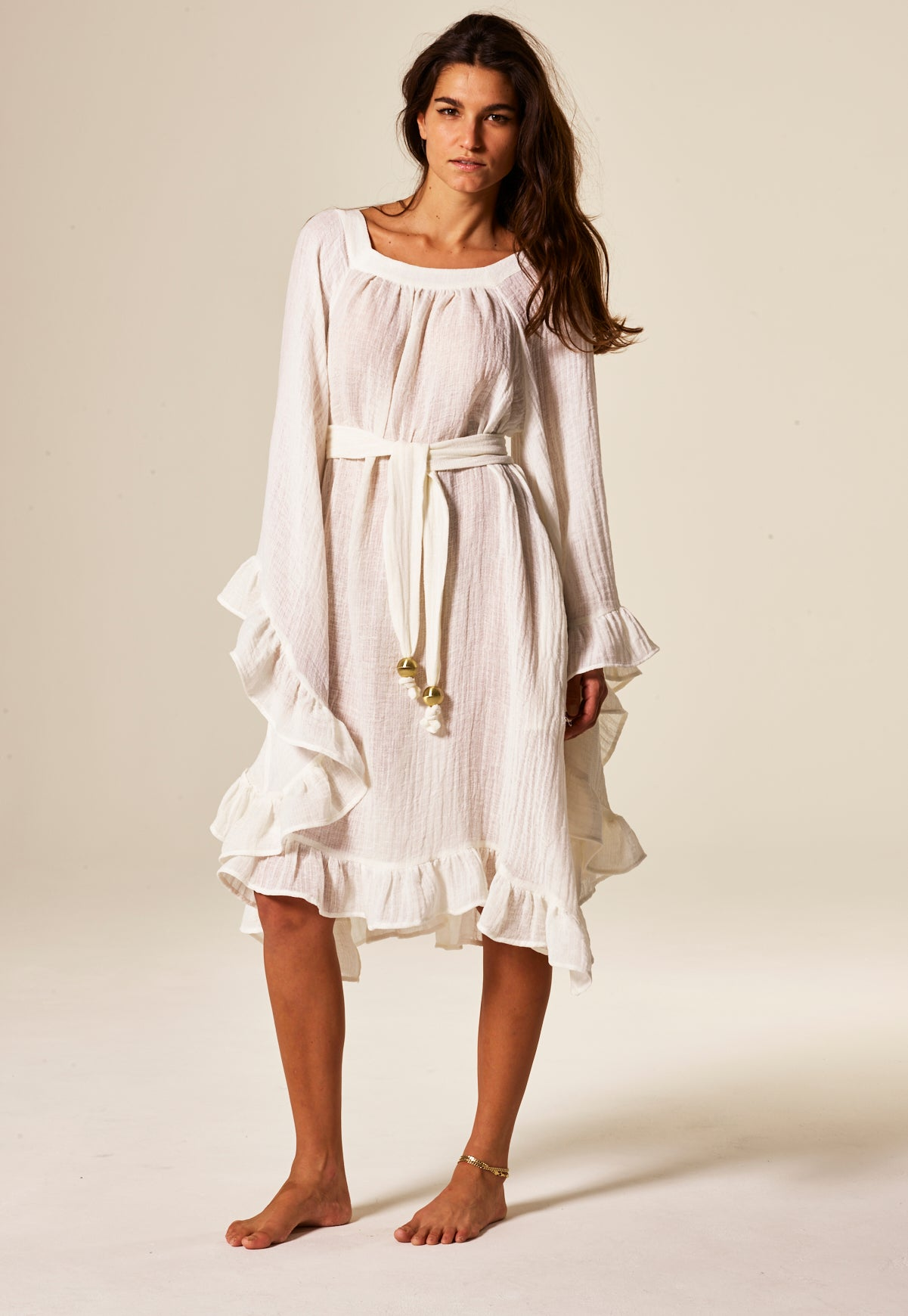 ANITA WHITE GAUZE DRESS