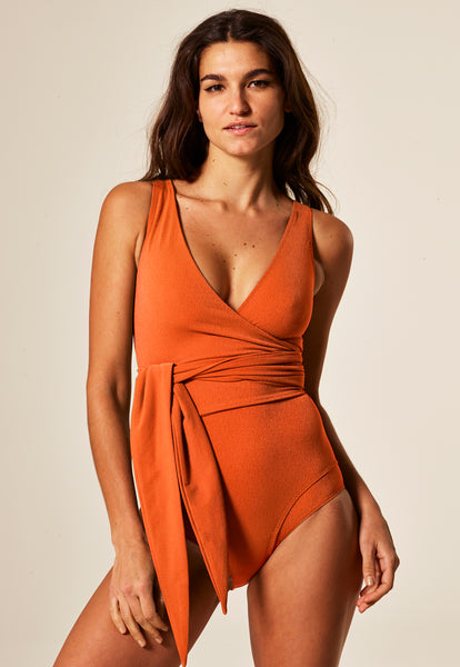 DREE LOUISE TERRACOTTA CREPE MAILLOT