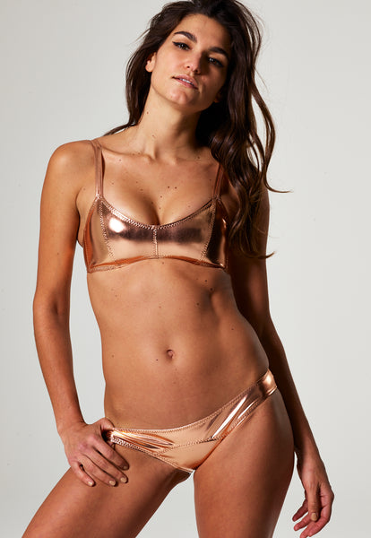 GENEVIEVE ROSE GOLD METALLIC PVC BIKINI