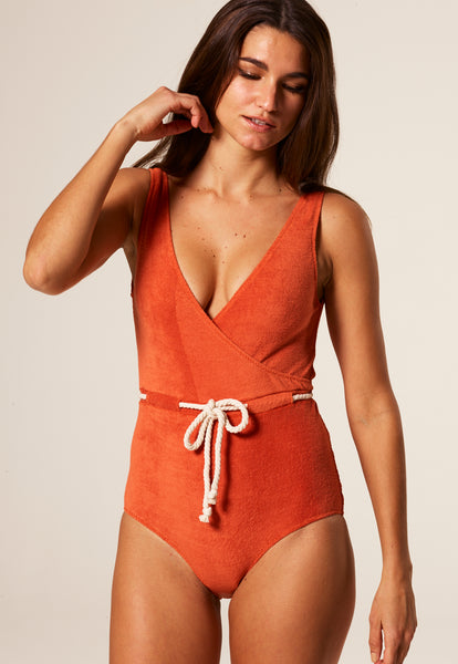 YASMIN TERRACOTTA TERRY CLOTH MAILLOT